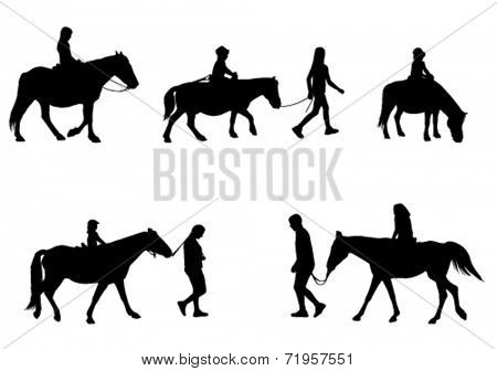 children riding horses silhouettes