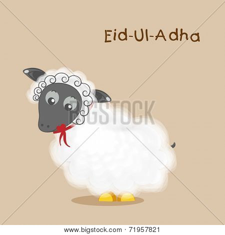 Muslim community festival of sacrifice Eid-Ul-Adha greeting card design with sheep on brown background.