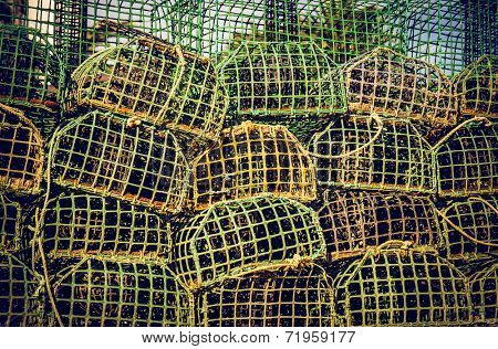 background of piled group of fishing cage traps
