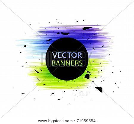 Ink explosion banner design template, digital watercolor blot spot