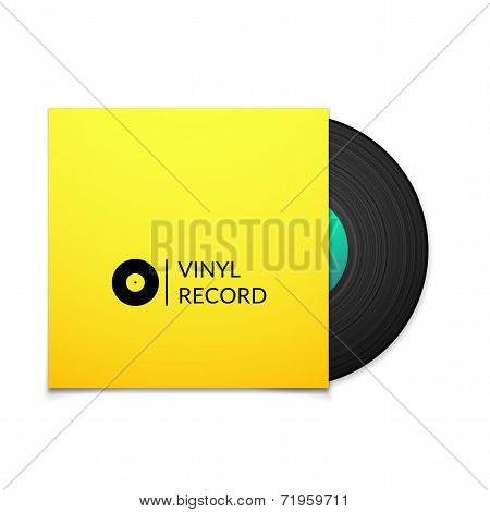 Black vintage vinyl record with blank yellow cover case isolated on white background