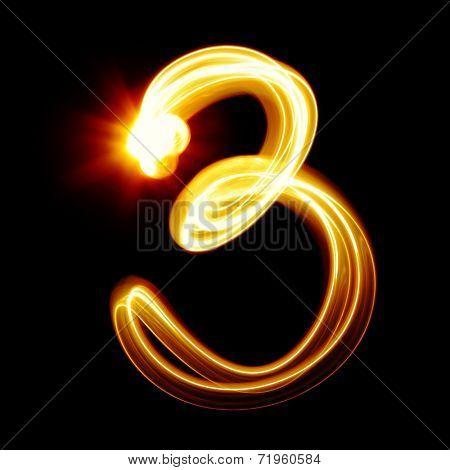 Three - Created by light numerals over black background