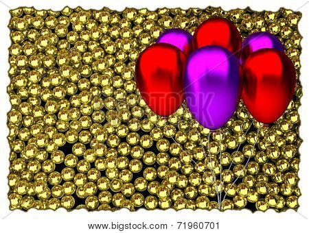 red and purple birthday balloons with glossy golden speres on background