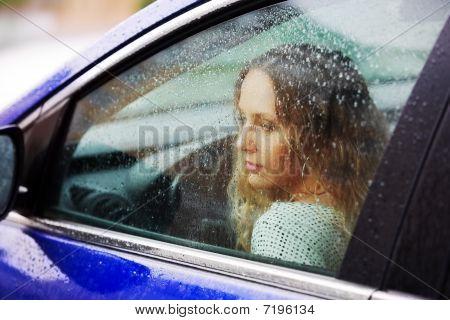 Sad Woman And Rain.