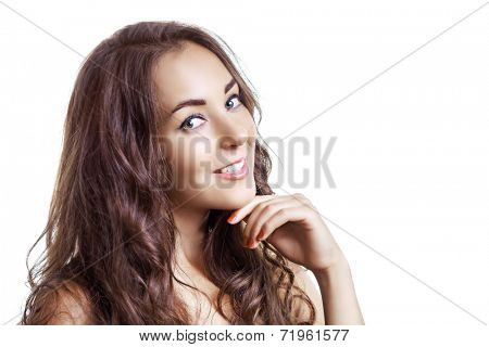beautiful woman with long curly hair, isolated on white background