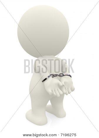 Homem 3D com algemas