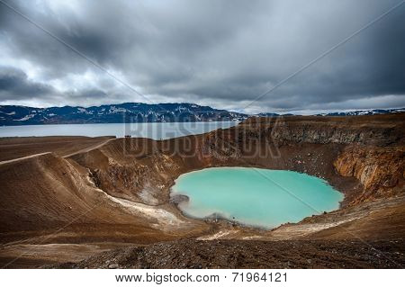 Giant volcano Askja offers a view at two crater lakes. The smaller, turquoise one is called Viti and contains warm geothermal water and is good for swimming. The large lake is Oskjuvatn