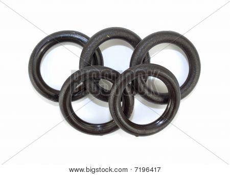 Five flat O ring washers