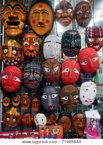 Korean wooden masks for sale