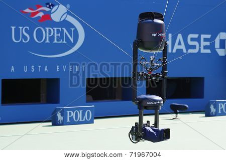 Spidercam aerial camera system used for broadcast from Arthur Ashe Stadium during US Open 2014