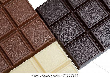 Bars of white, milk and dark chocolate, close-up