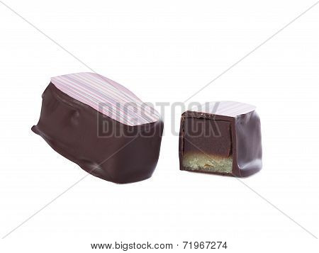 Tasty chocolate candy - totally and half