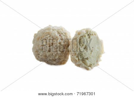 Candy with cream filling and wafer crumbs
