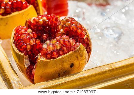 Pomegranate Fruit On Ice