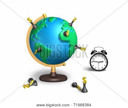 Dollar Chess Stand On 3D Map Terrestrial Globe With Clock