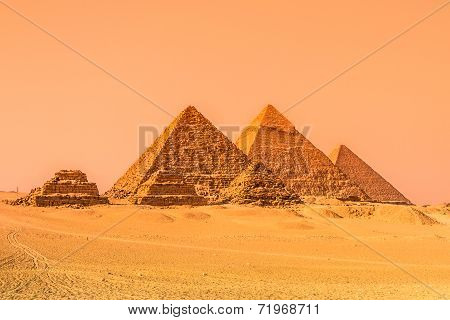 The pyramids of Giza, Cairo, Egypt.