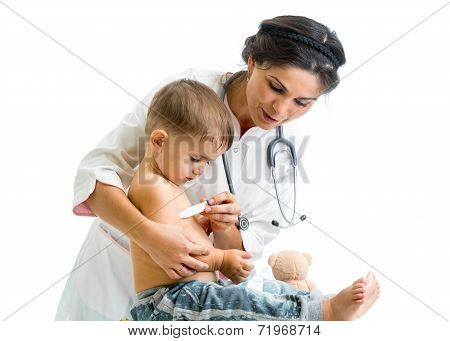 Doctor Measuring  Temperature Kid Isolated On White Background