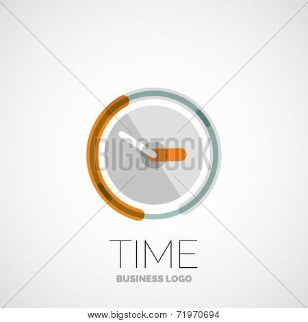 clock, time company logo design, business symbol concept, minimal line style