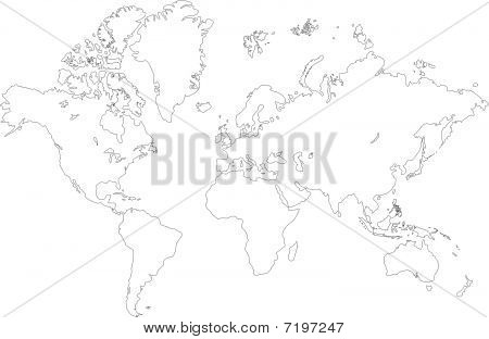 Outlined world map