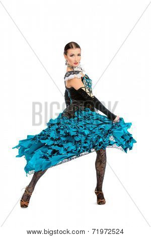 Beautiful female dancer perform tango dance with passion and expression. Isolated over white.