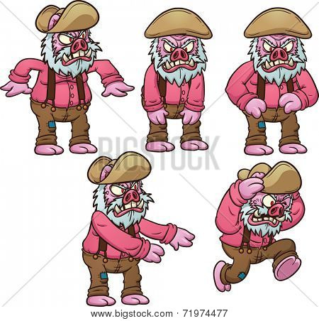 Old pig picking up and throwing something. Hurt image. Vector clip art illustration with simple gradients. Each on a separate layer.