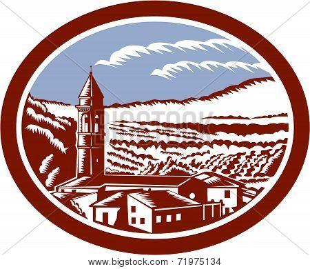 Church Belfry Tower Tuscany Italy Woodcut
