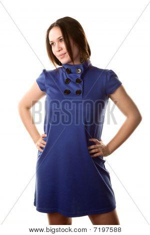 hübsche Frau in blauen Kleid