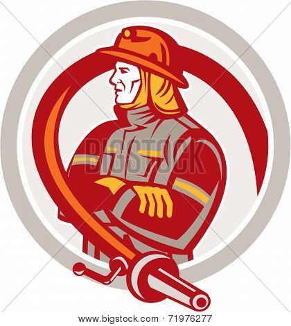 Fireman Firefighter Standing Folding Arms Circle