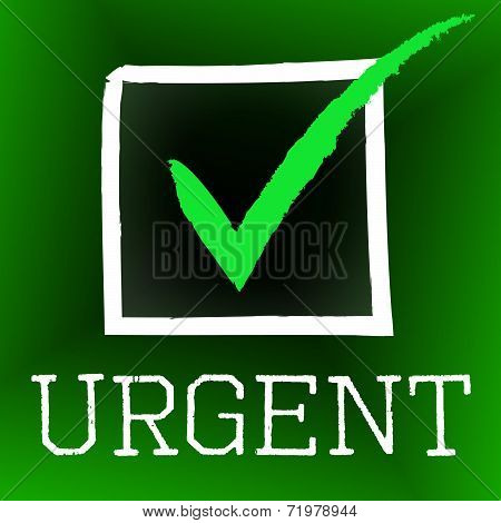 Urgent Tick Represents Imperative Confirm And Mark