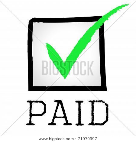 Paid Tick Represents Mark Paying And Bills