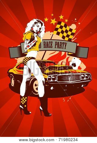 Motor race party design with fashion girl and retro car on red rays background