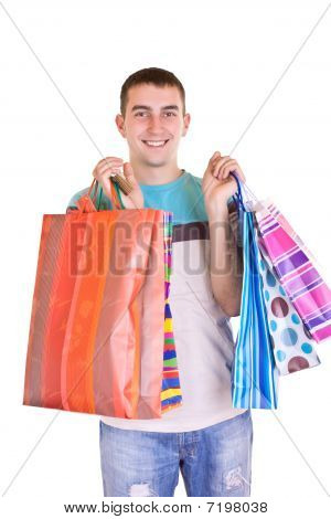 Man With Colorful Shopping Bags