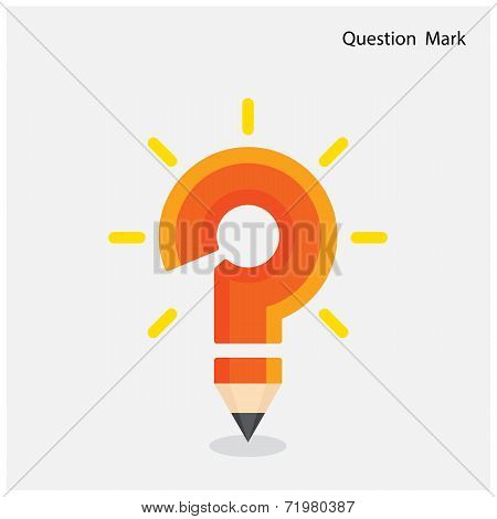 Pencil Question Mark On Background.