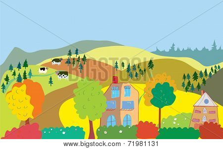 Autumn countryside landscape with trees houses cows