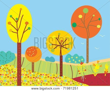 Funny fall landscape with flowers and trees
