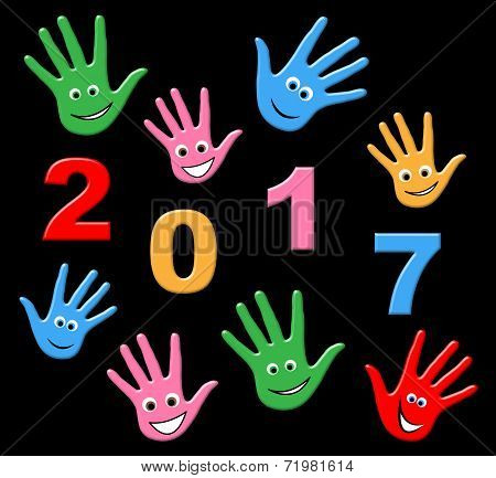 New Year Indicates Two Thousand Seventeen And Celebrating