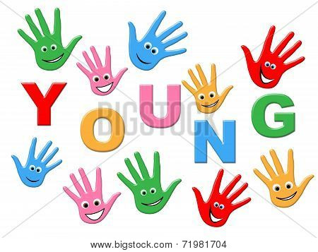 Young Handprints Indicates Kids Youth And Painted