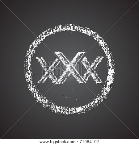 Illustration of chalk painted 'xxx' icon in a round.