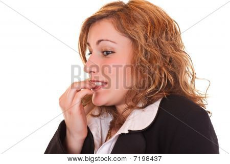 Nervous Woman Biting Her Nails