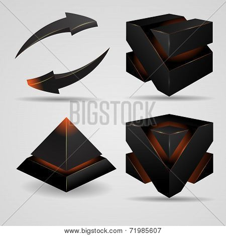 geometric abstract futuristic gloomy gothic pyramid and cube rotating arrows vector illustration