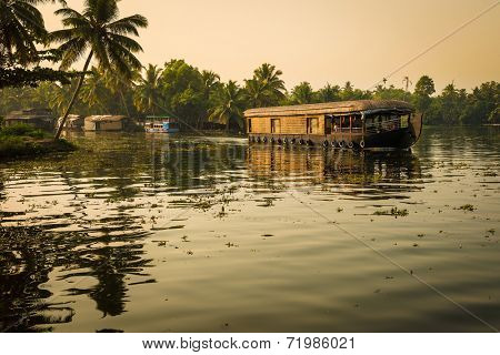 Traditional Inian house boat .Kerala. instagram effect