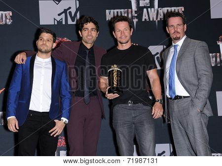 LOS ANGELES - APR 13:  Jerry Ferrera, Adrian Grenier, Mark Wahlberg & Kevin Dillion in the 2014 MTV Movie Awards - Press Room  on April 13, 2014 in Los Angeles, CA.