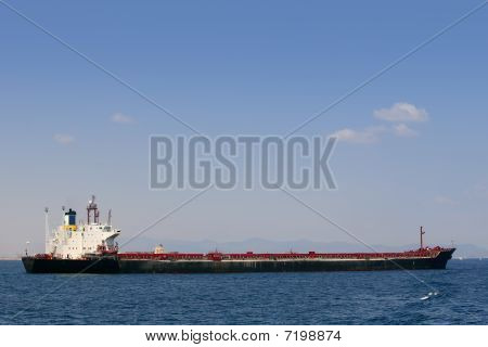 Oil tanker boat over blue Mediterranean