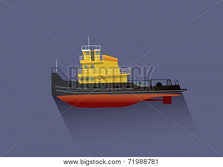 Pusher boat vector illustration in flat design