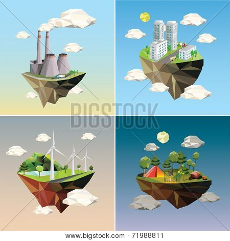 Eco island. Illustration of green energy for the house on a small plot of land.