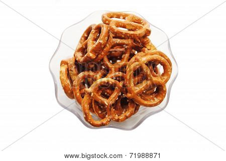 Many Pretzels In A Clear Class Bowl