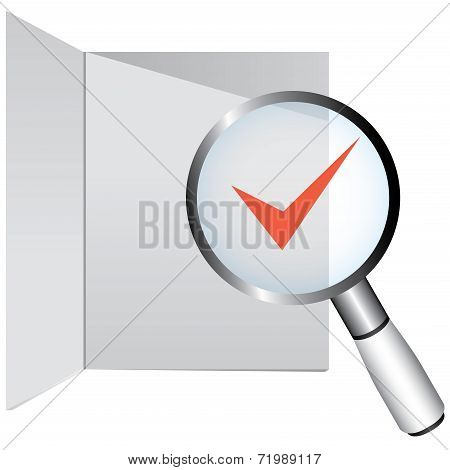 magnifier glass and check mark