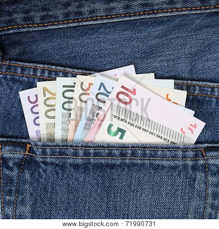 Current Euro Notes In Trouser Pocket Pickpockets