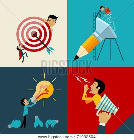 Start up, Flat logo Design Vector Illustration Web Concept of New Business Project Growth and Develo