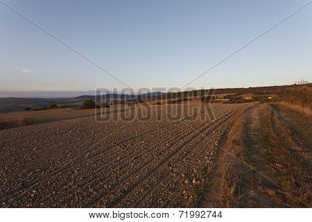 Typical Tuscany Landscape In Autumn